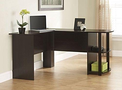 L Shaped Computer Desk Bookshelves Dark Russet Cherry Finish Office Corner Desks