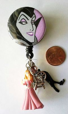 Maleficent - Sleeping Beauty Fabric Button Retractable Reel w/ ID Badge Holder
