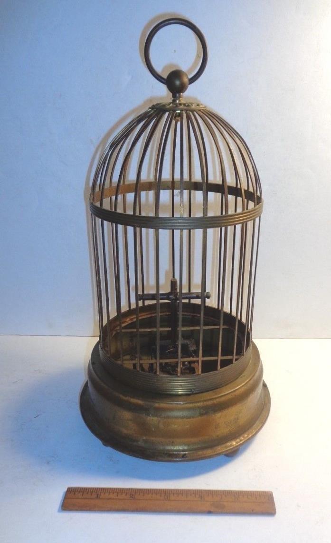 ANTIQUE WIND-UP BRASS BIRD CAGE w/CLOCK WORKS,