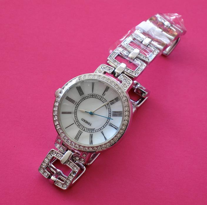 TimeCo Time100 Ladies Bracelet Rhinestone Quartz Watch Stainless Steel NEW