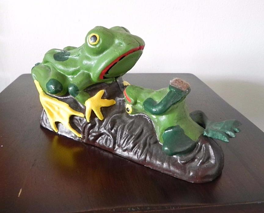 Vintage Cast Iron FROGS MECHANICAL BANK Flip Coin in Mouth