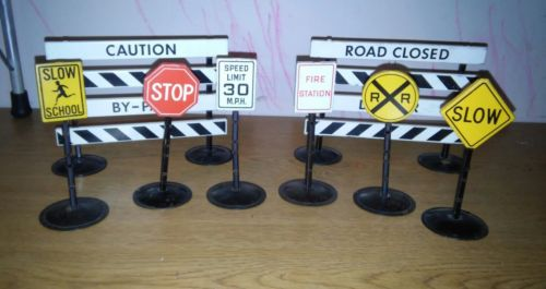 tonka  road signs 1950s with rare fire station sign
