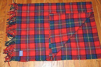 Vintage Pendleton Wool Blanket Stadium Robe Bag Red Tartan Plaid Beach Picnic