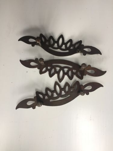 3 Antique  Brass Victorian Armoire Dresser Drawer  Handles Pulls