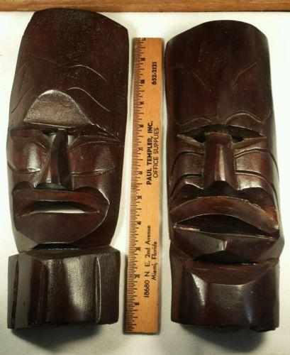 Tribal Mask - Pair of hand carved vintage wood mask