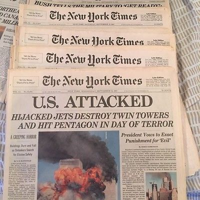 THE NEW YORK TIMES SEPTEMBER 12-20 2001 9-11 WORLD TRADE CENTER  ATTACK MINT
