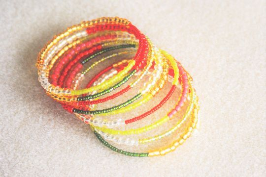 Red, Gold & Green Beaded Wrap Bracelet  Handcrafted