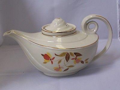 Hall china jewel tea leaf spout, Aladdin teapot with infuser.