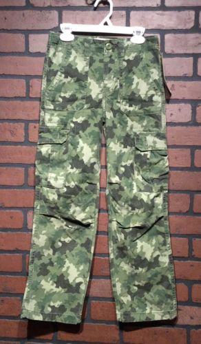 Cherokee Boys 10 Pants 100% Cotton Green Camouflage Cargo Adjustable Waist NWT