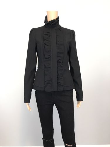 Women's Tracy Reese New York Black Ruffle Classic Blazer Jacket SZ 4 $450
