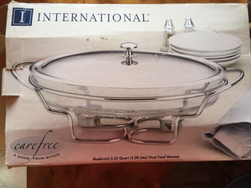 NEW 3.25 Qt, International Silver Company Silver Plated Oval Food Warmer