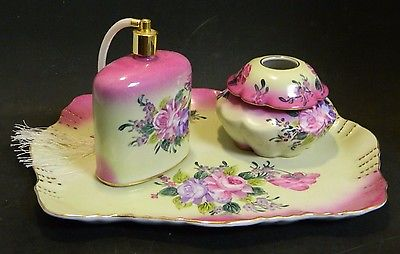 Vintage 3 Piece Limoges China Pink Roses Vanity Set Tray+Atomizer+Hair Reciever