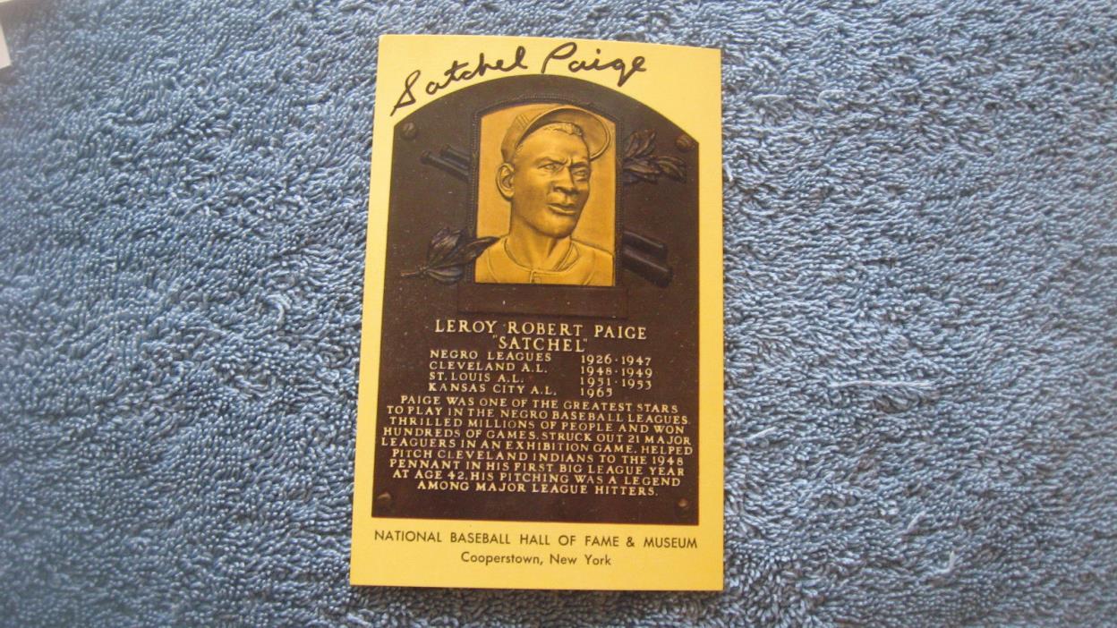 Autographed Satchel Paige yellow baseball HOF Plaque postcard.