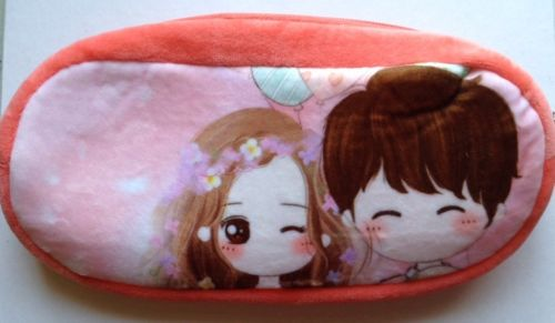 Pink Couple anime style pencil case