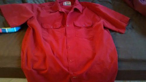 Dickies Short Sleeve Work Shirt Red XL Tall