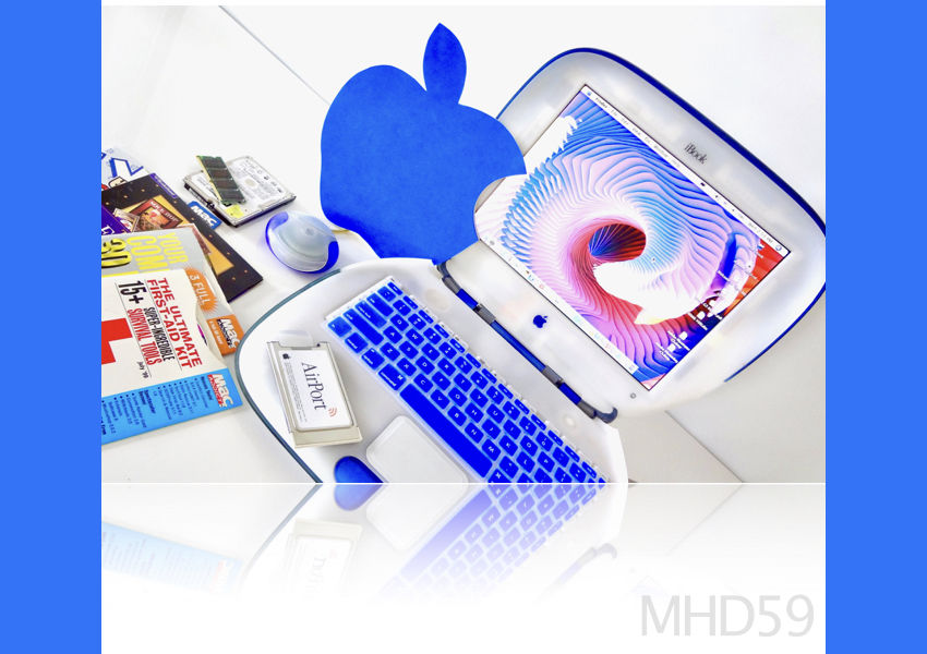 Apple iBook Clamshell G3 366 FireWire + 60 GB HD Dual 9+X Tiger + Gifts = CLEAN