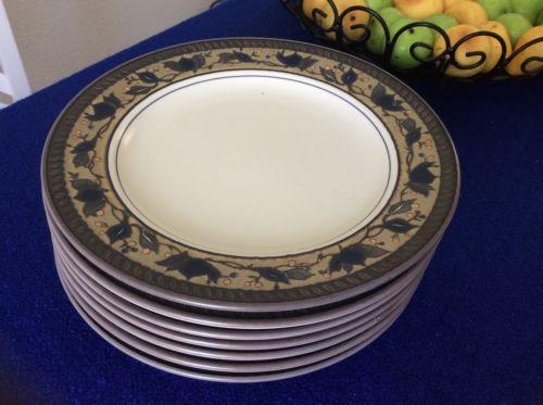 Set of 7 MIKASA INTAGLIO ARABELLA Salad Lunch Plates 8-3/8