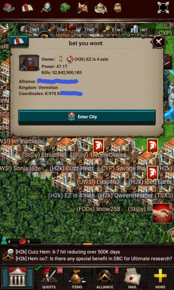 game of war account. 46 trillion power. 747 billion research. Kingdom 970.