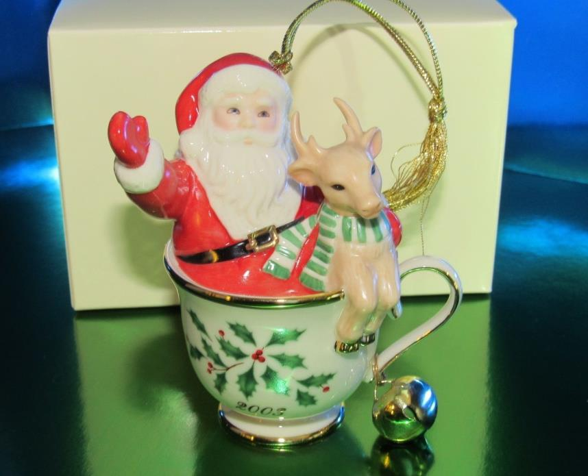 LENOX 2003 Annual HOLIDAY Ornament TEA FOR TWO Santa & Reindeer in Teacup(1ZD-1)