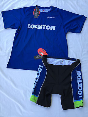 new Hincapie Team Lockton Men's XXL Blue Cycling Outfit Jersey Padded Shorts 2XL