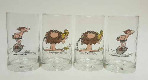Vtg Set of 4 1981 Arbys B.C. Ice Age Collector Series Glasses Thor Grog Hart