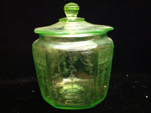 Vintage Green Depression Glass Vaseline Glass Ornate Candy Jar