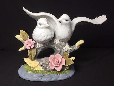 Vintage Couple Doves with Flower Porcelain Ceramic Figurine 6