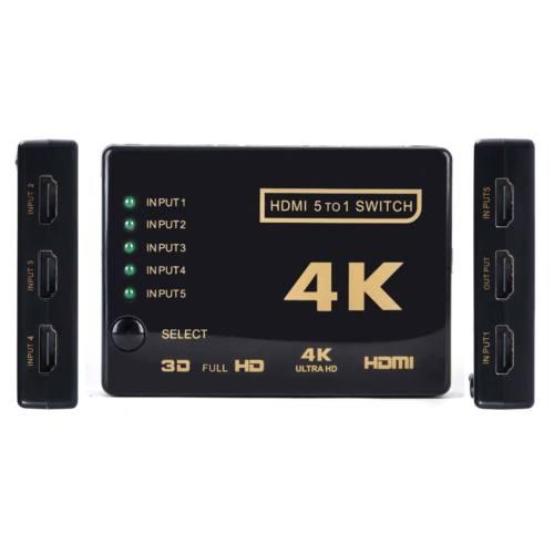 HDMI Switcher Switch 3D 5 Port 4K Selector Splitter Hub iR Remote For HDTV 1080p
