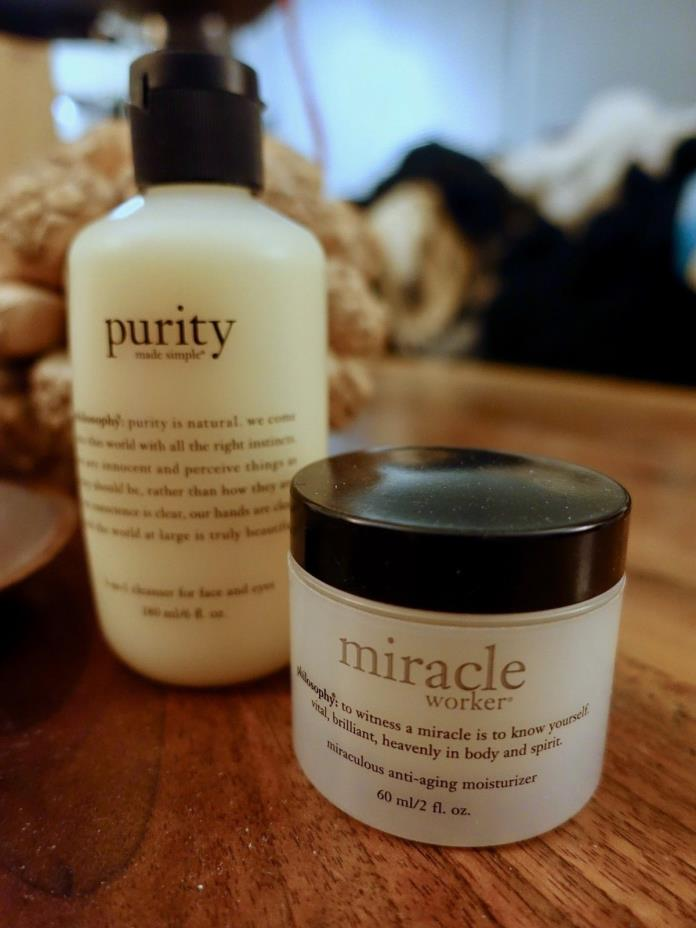 Philosophy Purity 3-in-1 Cleanser 6 oz & Miracle Worker 2 oz Both SEALED