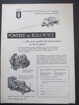 1956 Rolls Royce Heavy Truck Engine Magazine Ad