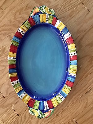 Serving Tray Large Laurie Gates Design Blue with Multi Colored Border