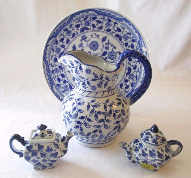 Andrea by Sadek Blue & White Porcelain Pitcher, Plate & 2 Miniature Teapots w/Li