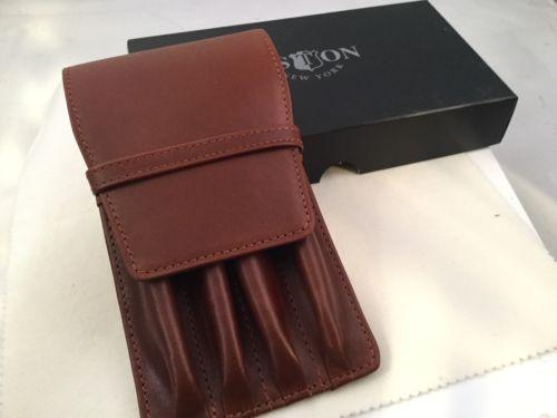 Aston Leather 4 Quadruple Pen Holder Cognac Handmade In New York USA