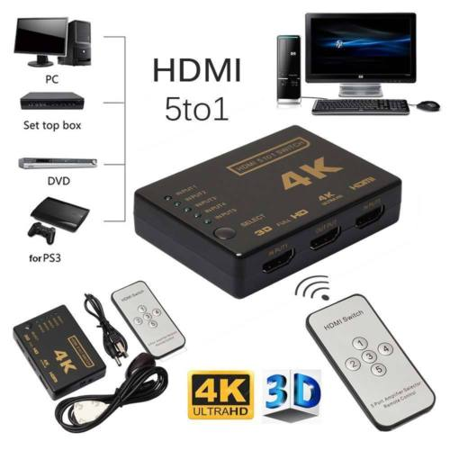 5 Port 4K 3D HDMI Switcher Switch Selector Splitter Hub iR Remote For HDTV 1080p