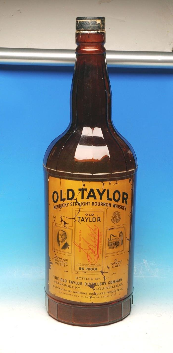 GIANT OLD TAYLOR KENTUCKY BOURBON ADVERTISING BAR DISPLAY GLASS BOTTLE SHARP