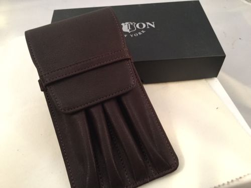 Aston Leather 4 Quadruple Pen Holder Brown Handmade In New York USA