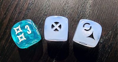 Set of white 2x & Green Translucent Regional Dice - Star Wars Imperial Assault