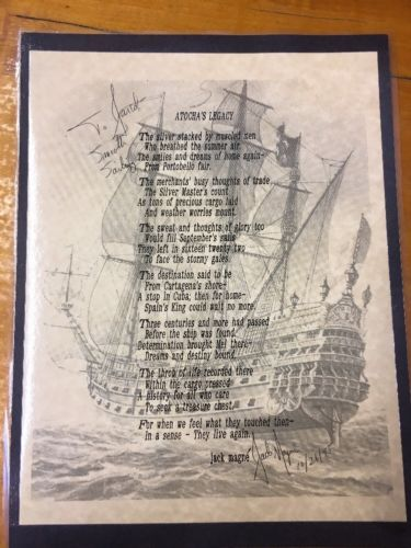 ATOCHA 1622 SHIPWRECK Poem By Jack Magne -- AUTOGRAPHED  ATOCHA's LEGACY
