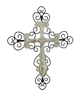 Off White Distressed Finish Decorative Wall Cross