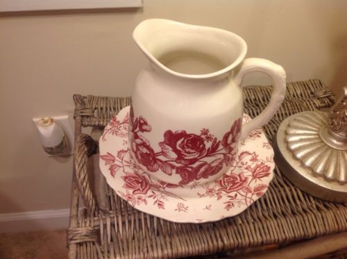 Red And White Tudor House Plate And Andrea Sadek Pitcher