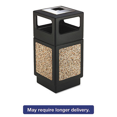 Canmeleon Ash/trash Receptacle, Square, Aggregate/polyethylene, 38gal, Black