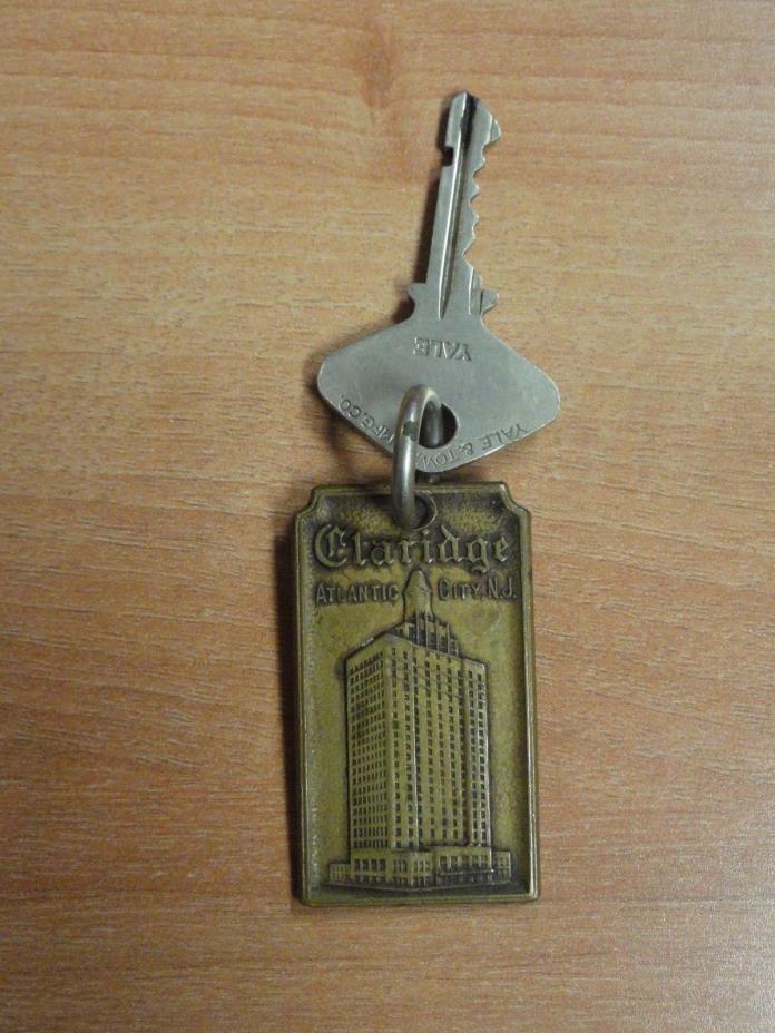 Antique Original Claridge Room Key & Fob Atlantic City, N.J. Room #906 Fob & Key