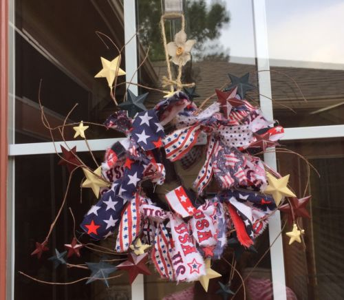 HANDMADE SMALL PATRIOTIC AMERICANA RAG WREATH W RUSTIC STARS-COUNTRY,PRIMITIVE
