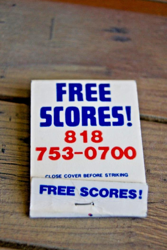 Vtg Free Scores! Matchbook Cover California L.A. Send For Free Sports Schedules!