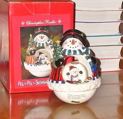 Christopher Radko Roly Poly Snowman Snowglobe Water Globe Christmas Decoration
