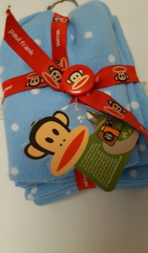 Paul Frank  Blue Knit Monkey Julius Cap Scarf Button Gift Set