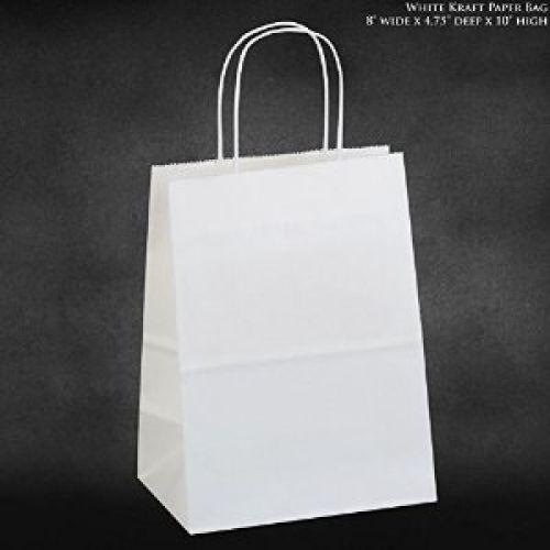 8 x4.75 x10 - 100 Pcs - White Kraft Paper Bags, Shopping, Mechandise, Party,