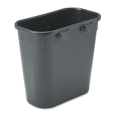 Paper Pitch Recycling Bin, Rectangular, Polyethylene, 1.75gal, Black
