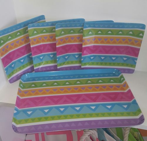 Aztec Geometrical  Bright Pastel Serving Tray and 4 Square Plates Melamine