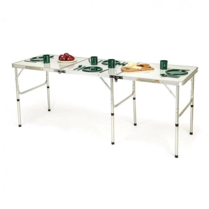 Camping Folding Table Extra Long Lightweight Adjustable Portable Camp Easy Carry
